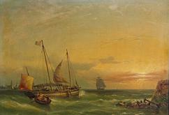 FineArtEmporium, A French Lugger departing from a Continental Harbour at sunset, by Julius Hintz 1850s