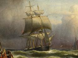 FineArtEmporium, Shipping in the Harbor of Ostend with a French Barque approaching, by Franz H�nten 1857