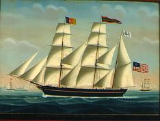 example of U.S.ensign flown from the tip of gaff on a sailing ship the American Bark MANUEL ORTIZ